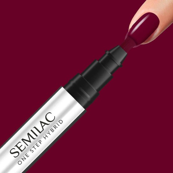Semilac One Step Hybrid Pen Gel Polish S580 Crimson nail desing on nails