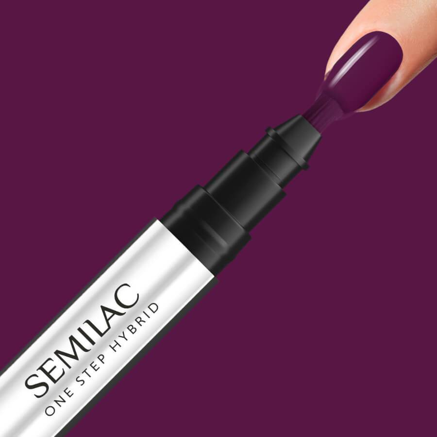 Semilac One Step Hybrid Pen Gel Polish S780 Plum Wine nail design on nails