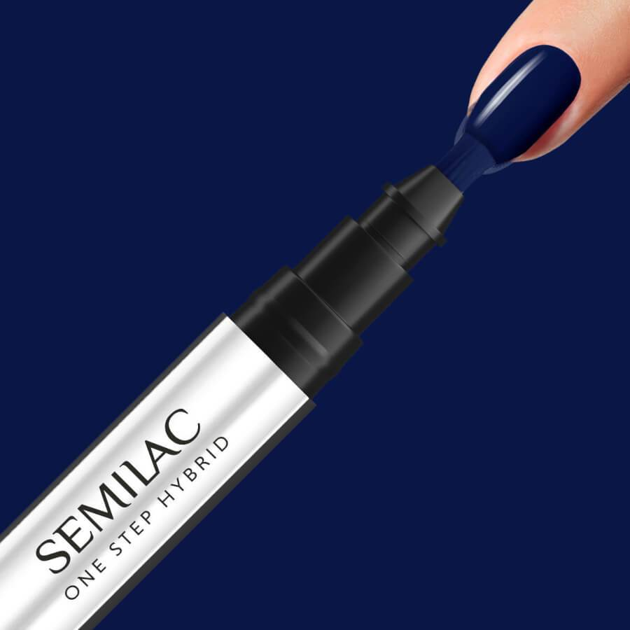 Semilac One Step Hybrid Pen Gel Polish S890 Midnight Blue nail design on nails