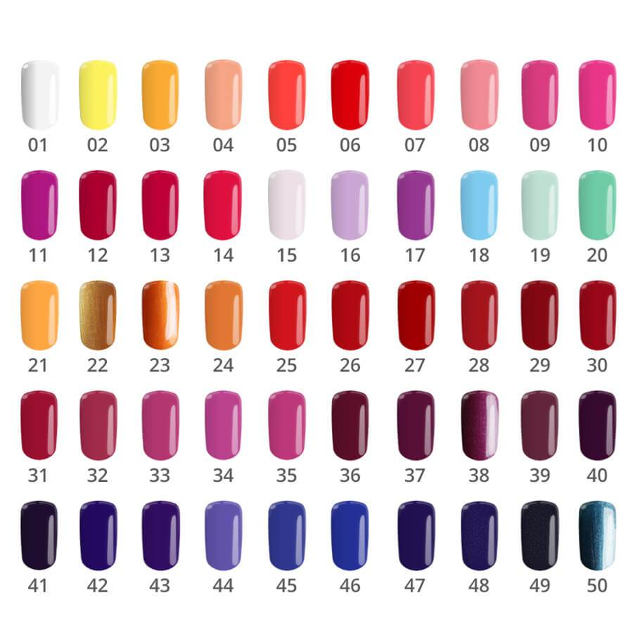Silcare flexy nail polish gel swatch colours 1-50