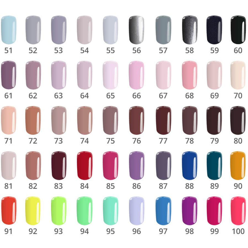 Silcare flexy nail polish gel swatch colours 51-100