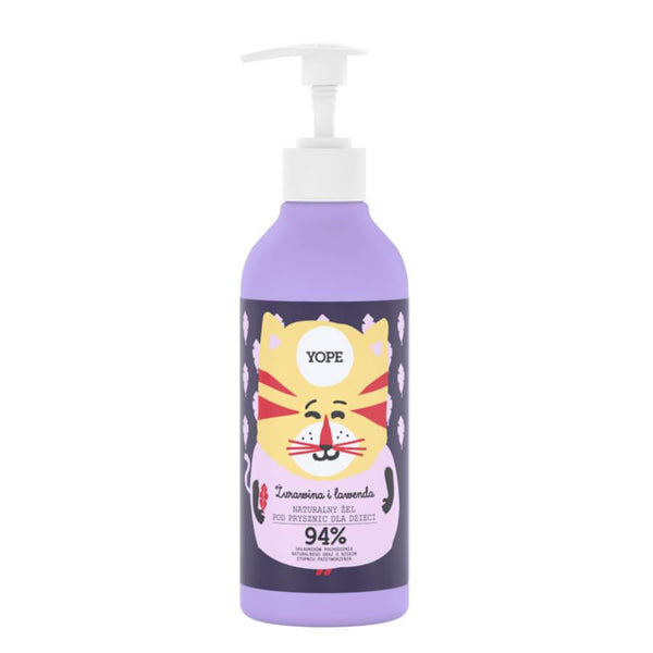 yope natural shower gel for kids cranberry lavender 94% natural ingredients