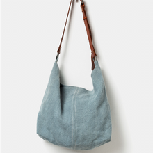 Load image into Gallery viewer, Juju and Co JUTE SLOUCHY BAG- French Blue or Khaki