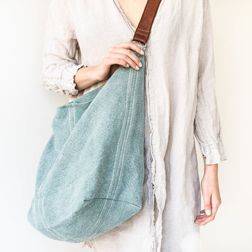 Juju and Co JUTE SLOUCHY BAG- French Blue or Khaki