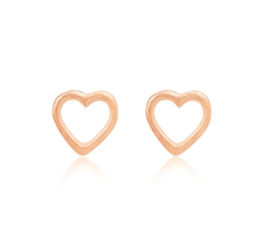 Linda Tahija OPEN HEART STUDS- Silver, Rose or Gold Plated