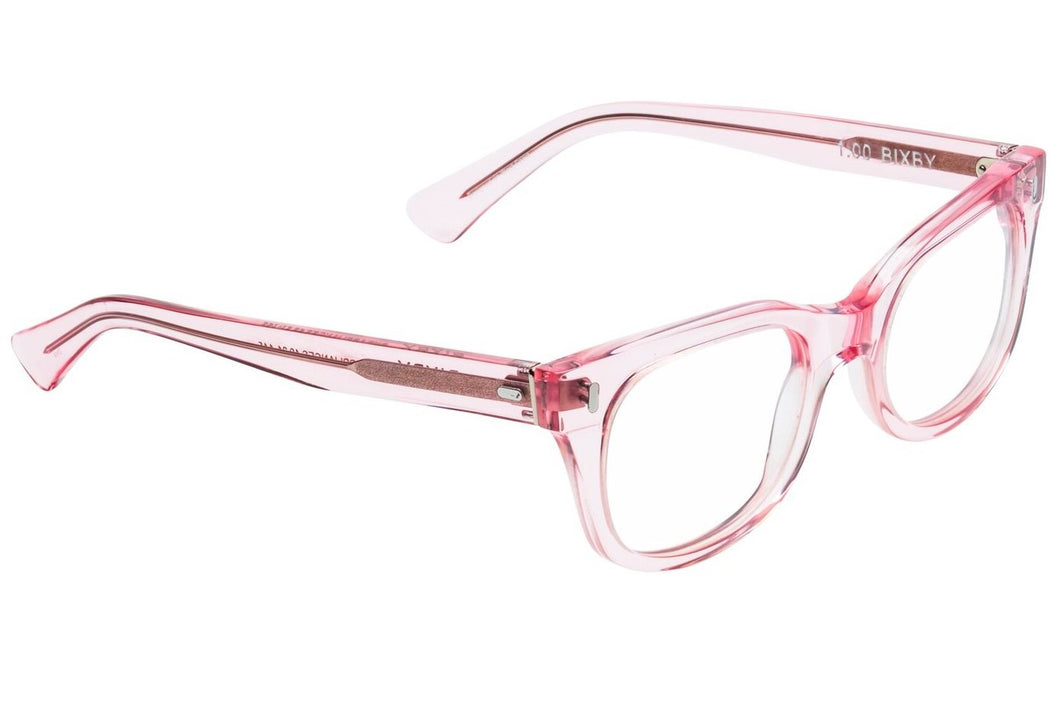 Caddis POLISHED CLEAR PINK BIXBY Blue Light Filter Reading Glasses