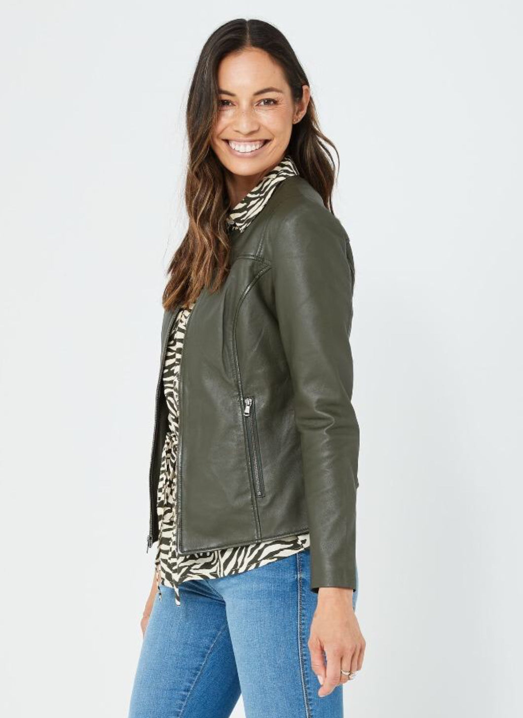 Kaja Clothing GIA Leather Jacket- DEEP OLIVE