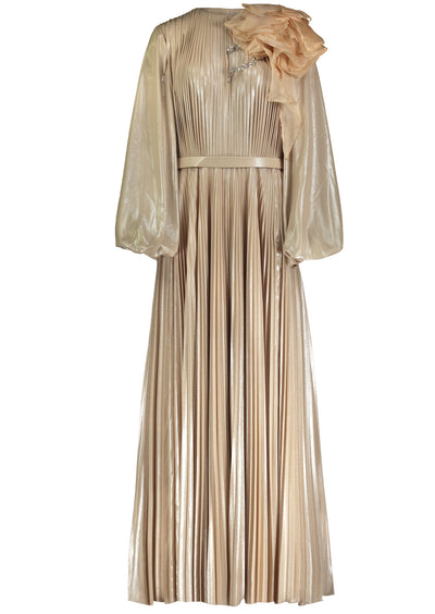 GN • Gold foil pleated gown