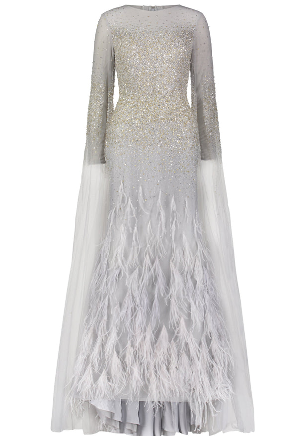 Powder • Sequin and feathers cape sleeves gown