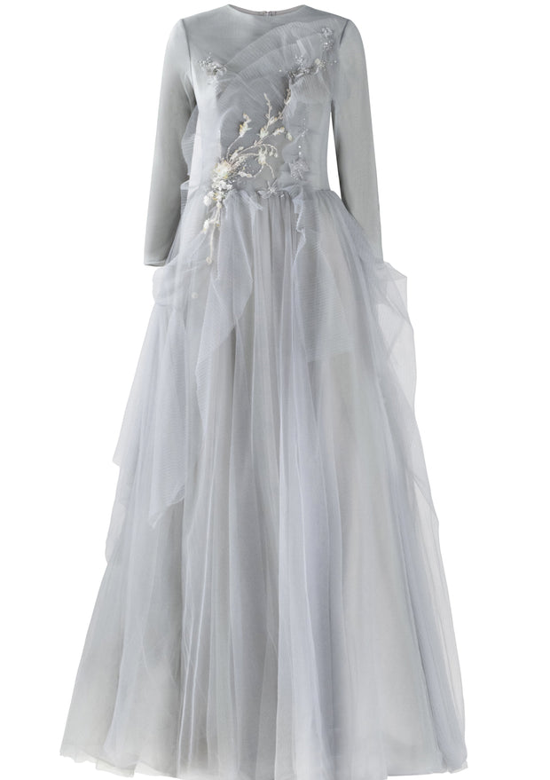 Powder • Cloud Blue Pleated Tulle Gown