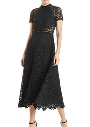 ML • Black Jet Lace Midi Dress