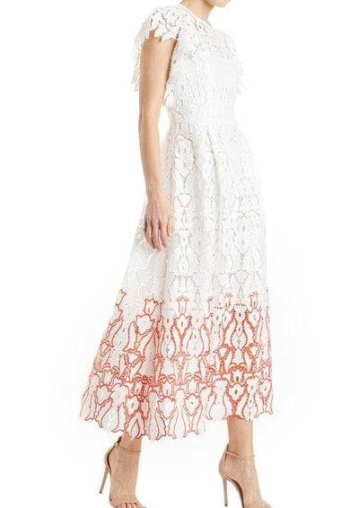ML • Flutter sleeve Lace Midi Dress