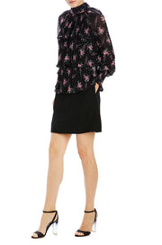ML • Pleated Blouse Pink Noir Floral