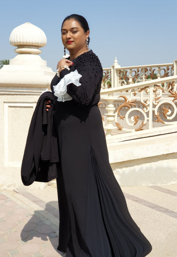Gabrielle • Black Gown with Sleeves pearls and side pleated insert