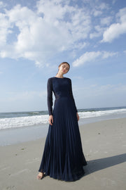 Gabrielle • Navy Pleated Chiffon and Lace