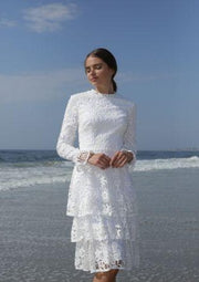 Gabrielle • Guipure tiered white dress