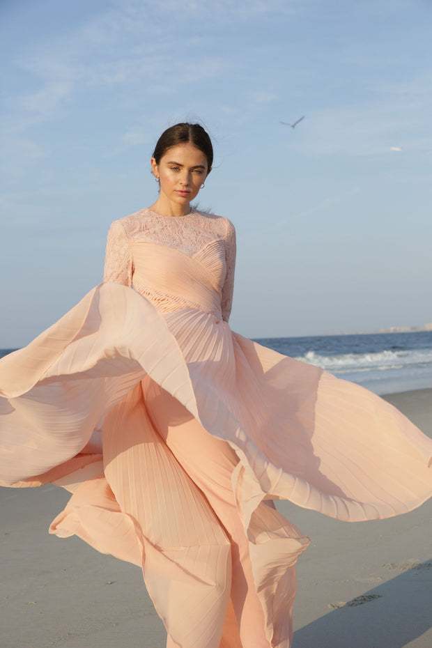 Gabrielle • Pleated Chiffon and Lace Gown