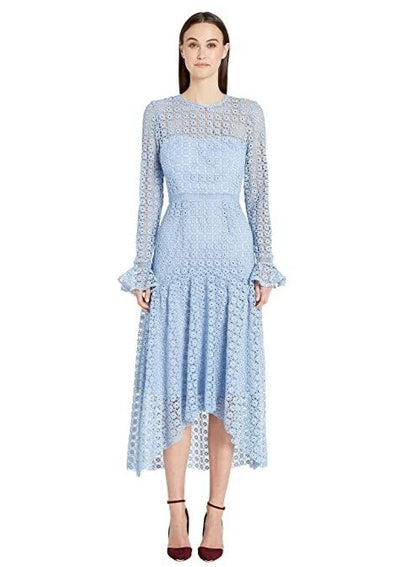 ML • Blue Lace Dress w/ Draped Skirt Dress