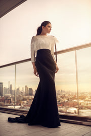 Black and White High Waist Gown