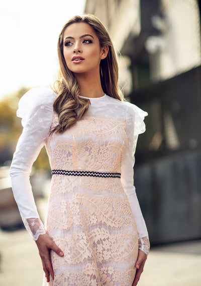 Puff Sleeves Italian Lace Dress Rental