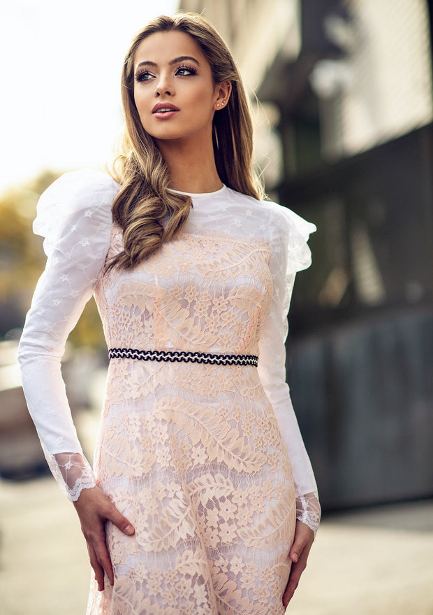 Puff Sleeves Italian Lace Dress