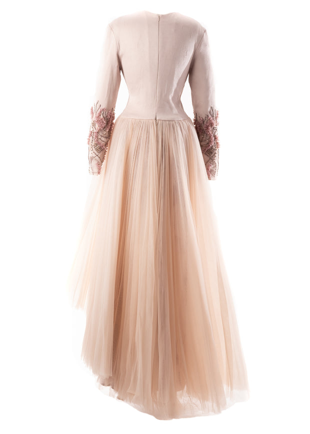 SK • Pleated Overskirt Beaded Gown
