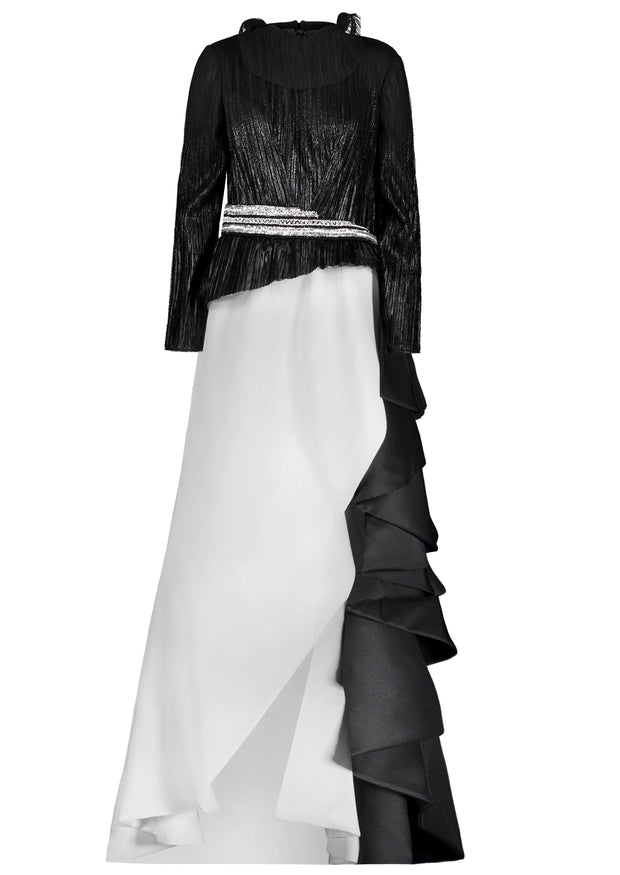 GN • Black and white Overskirt gown