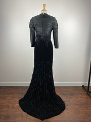 GN • Feathers and Velour sequins gown