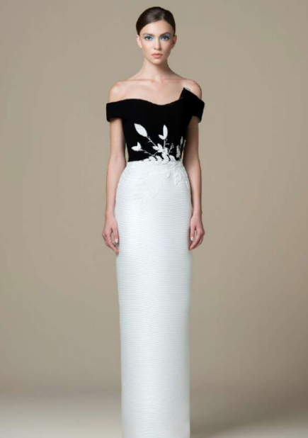 SK • Black and White Brocade Gown w/ Beaded Leaves