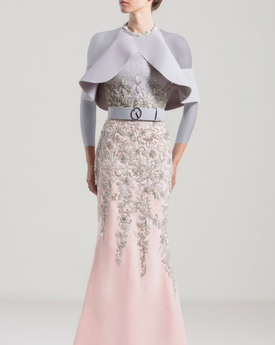 Saiid Kobeisy • Silver and white ruffles gown