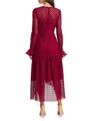 ML • Lace Long Sleeve Cranberry Midi Dress