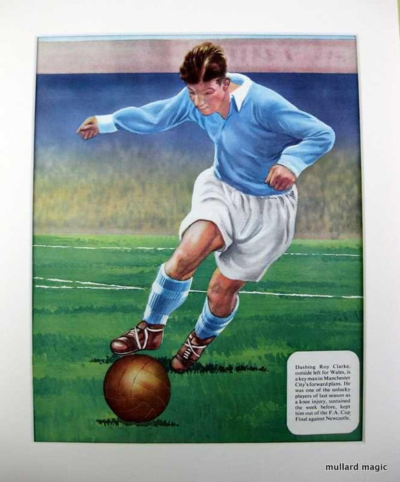 1954 Mounted Colour Football Polychrome Print Roy Clarke (Manchester City)