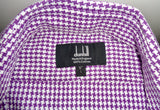 Vintage Dunhill Purple Check Long Sleeve 100% Cotton Shirt With A 16 Inch Collar
