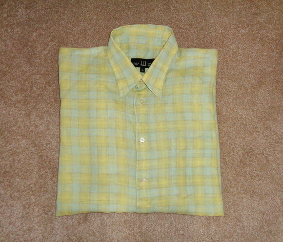 Vintage Dunhill Yellow & Blue Check Long Sleeve 100% Linen X-Large Shirt