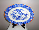 1930s Wood & Sons Aquila Blue and White H H & G Small Oval Platter
