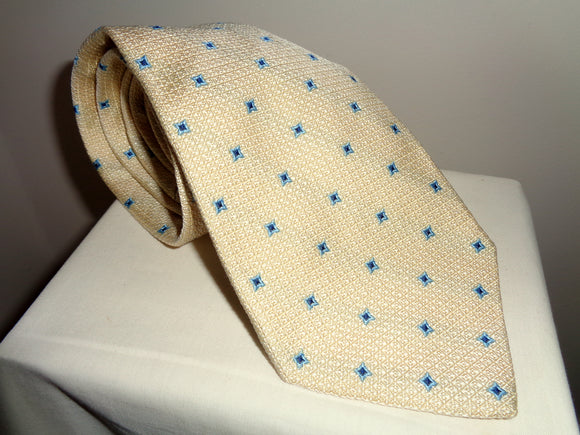 Vintage La Cravatta Silk Tie Yellow With Blue Square Motifs