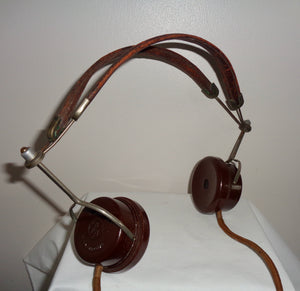 British Thomson Houston BTH Bakelite Leather Headphones 2000 Ohms