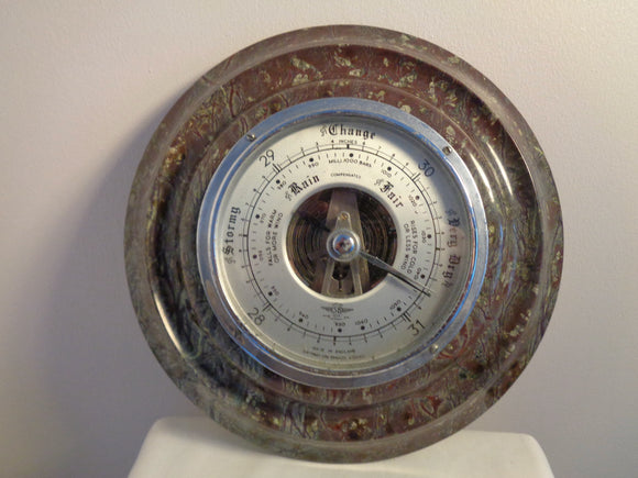 1950s Aneroid Barometer 8 Inch Diameter Made From Serpentine