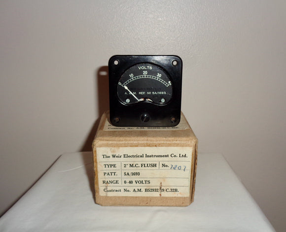 WW2 Weir Air Ministry Voltmeter 5A/1693 New In Box