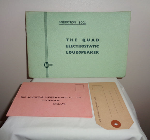 Original The Quad Electrostatic Loudspeaker ESL57 Instruction Book With Green Cover