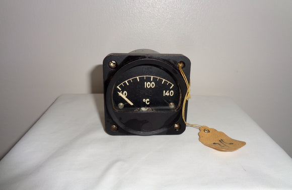 1940s Air Ministry RAF Aircraft Radiator Temperature 24 Volt Cockpit Gauge