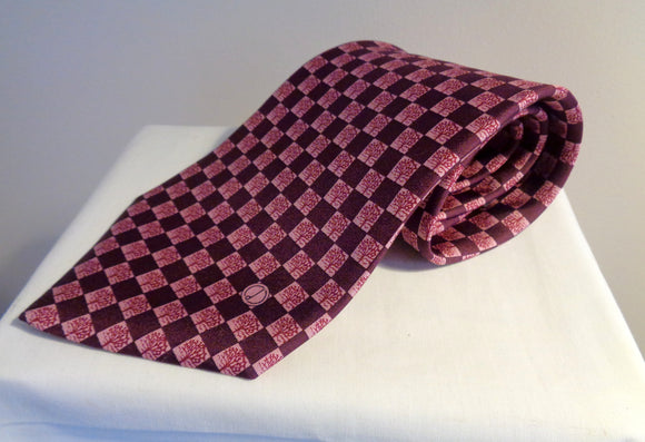 Vintage Dunhill Silk Tie Dark Purple and Pale Purple Squares