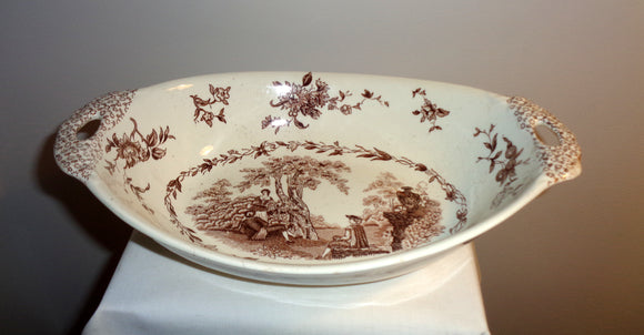 1920s Mason's Ironstone Watteau Brown Two Handled Serving Dish