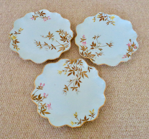 Three Vintage Pale Blue Floral Fluted Edge China plates