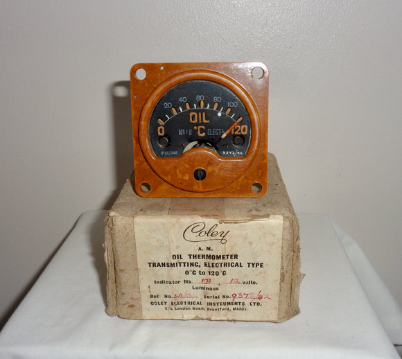 1940s Bakelite Air Ministry 6A/1340 RAF Aircraft Oil Thermometer 12 Volt Cockpit Gauge. Made By Coley