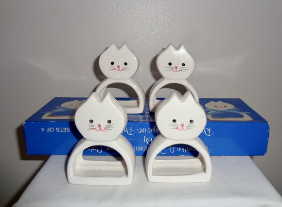 1984 Ron Gordon Designs Ceramic Cat Set Of Four Napkin Rings