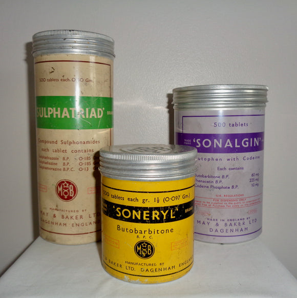 Set Of Three 1950s May & Baker Empty Pharmacist/Druggist Tins. Sonalgin. Soneryl. Sulphatriad.