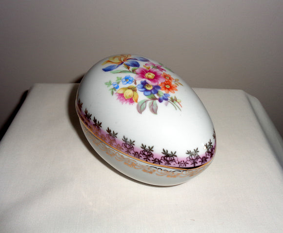 Vintage Dresden China Egg Trinket Box