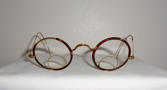 Antique Windsor Round Bifocal Glasses In Their Original Case
