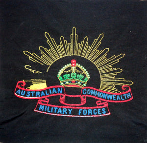Vintage Australian Commonwealth Military Forces Rising Sun Embroidered Emblem